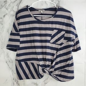 Lucky Brand Front Knot Short Sleeve Blouse